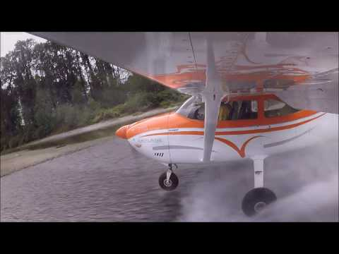 Water assisted landing , Cessna 182.