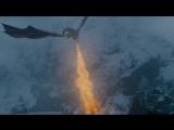 Дейнерис с Драконами спасают Джона Сноу. Смерть Визериона. Игра Престолов. (7 сезон 6 серия)