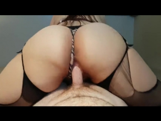 Thick booty amateur brunette rides and cums on cock to earn deep creampie - big ass butts booty tits boobs bbw pawg pantyhose