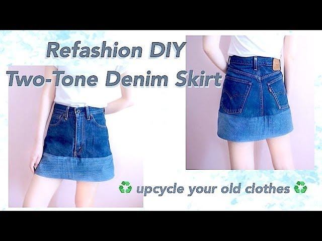 CLOTHING HACK Refashion DIY Old Jeans to Two Tone Denim Skirt デニム👖ジーンズ リメイクㅣmadebyaya