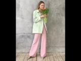 А в душе весна..🌷🌷🌷 Нежный образ с укороченным пальто фисташкового цвета и розовыми брюками широкими от бедра.🌷🌷🌷💻 Интернет-маг