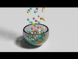 наполняем конфетками прозрачный стакан