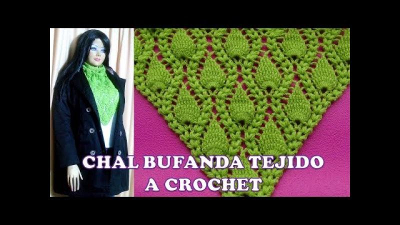 Chal Bufanda tejido a crochet en punto espiga y hojas en relieves paso a paso