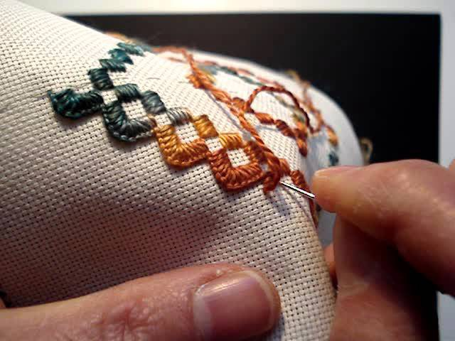 Hardanger Lesson, extra help with starting and ending blanket stitch.