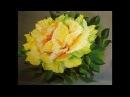 Желтые розы поэтапно маслом одним мазком Yellow rose Painting