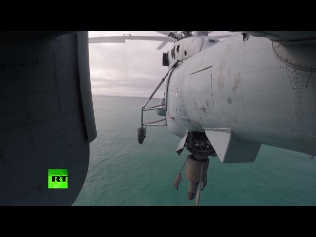 Экипажи противолодочных вертолётов СФ провели тренировки по поиску подводных л...