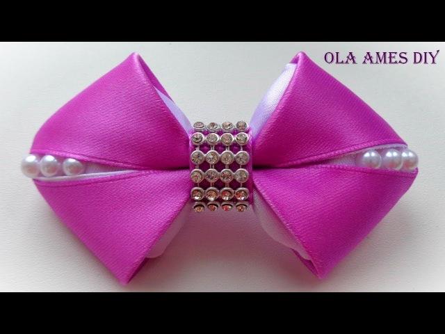Бантики из лент своими руками/ How to make kanzashi hairclip/ DIY ribbon hair bow/ Ola ameS DIY