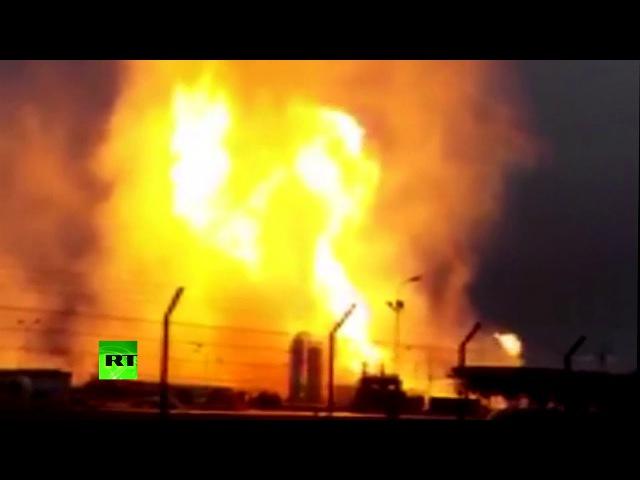 Видеокадры крупного пожара на газораспределительной станции в Австрии