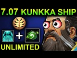 UNLIMITED SHIP KUNKKA - DOTA 2 PATCH 7.07 NEW META PRO GAMEPLAY