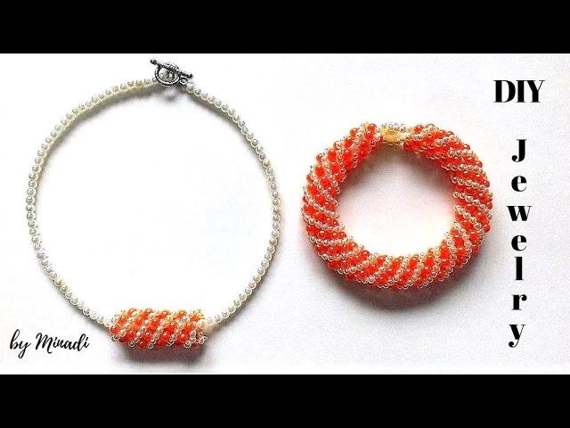 Russian spiral bracelet. Diy necklace bracelet. Beading tutorial( spiral method)