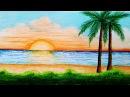 How to draw sea beach scenery.Step by step easy draw