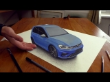 Car VW Golf Facelift painted in 3D Trick Art