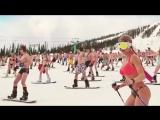 Bikini Snowboarding! Hot Girls! Siberian-style
