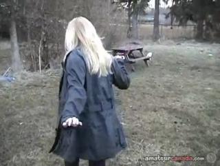 Chubby wife flashes huge boobs in her backyard - 7 min