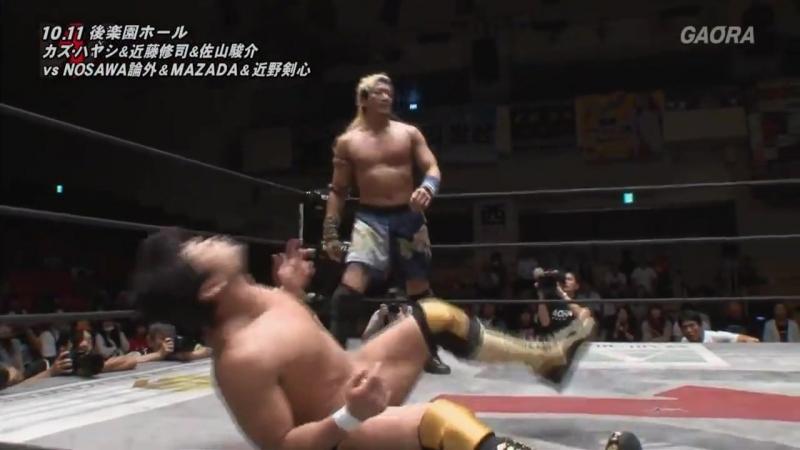 Kaz Hayashi, Shuji Kondo, Shunsuke Sayama vs. Kensin Chikano, MAZADA, NOSAWA Rongai (WRESTLE-1 - Tag League 2017 - Finals)