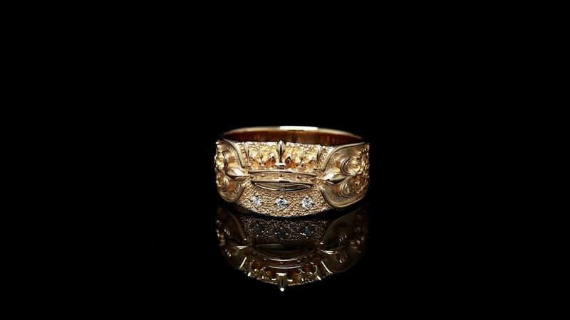 Кольцо Геральдическая корона Красное золото бриллианты