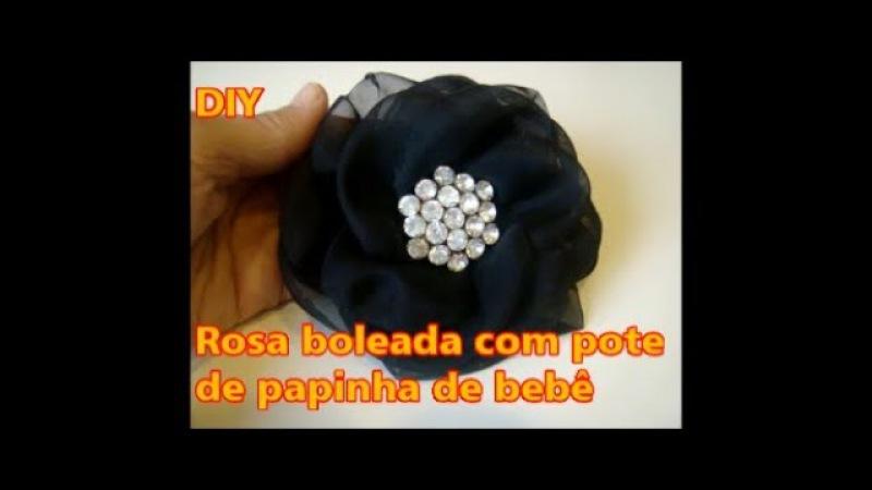 Rosa / flor boleada com pote de papinha de bebê - Diy