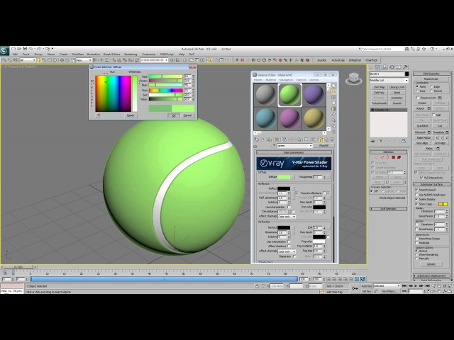 Tennis Ball - 3Ds Max Modeling and Vray Material Tutorial - Without sound