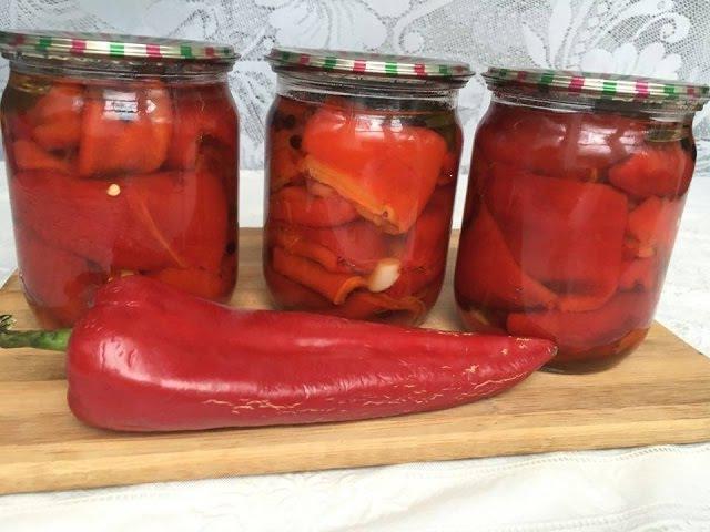 Qış hazırlığı- Çox ləzzətli közlənib marinə edilmiş qırmızı şirin bibər