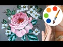 How to paint a peony by a flat brush, Tutorial