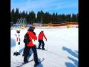 первое катание Пашки на сноуборде