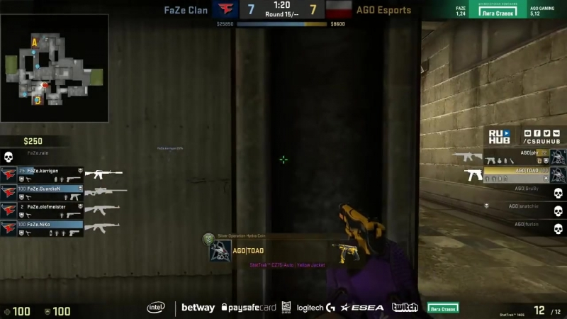 [CSRuHub] AGO vs FaZe - ESL Pro League S7 NA - de_cache [CrystalMay, Smile]