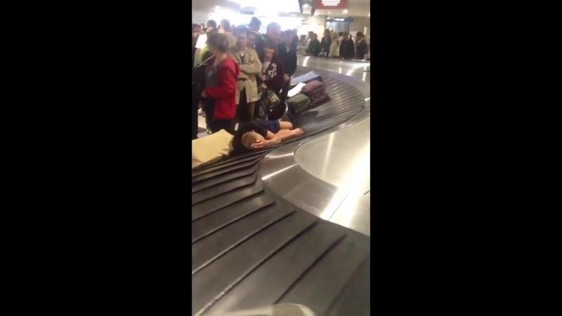 Человек уснул на багажной ленте в аэропорту