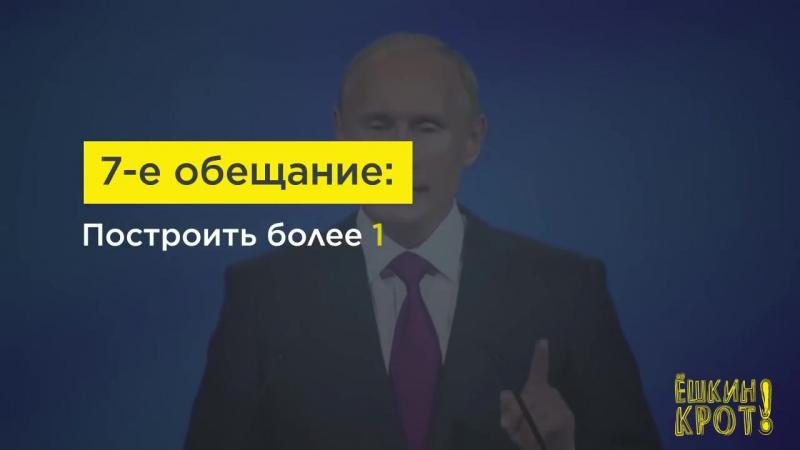 [Ёшкин Крот] 10 обещаний Путина 2011 года: что из этого получилось — в цифрах и фактах
