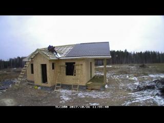 Каркасный дом 9х6 м. с террасой 2х6 м. Часть 3 Монтаж OSB, кровли, окон и дверей