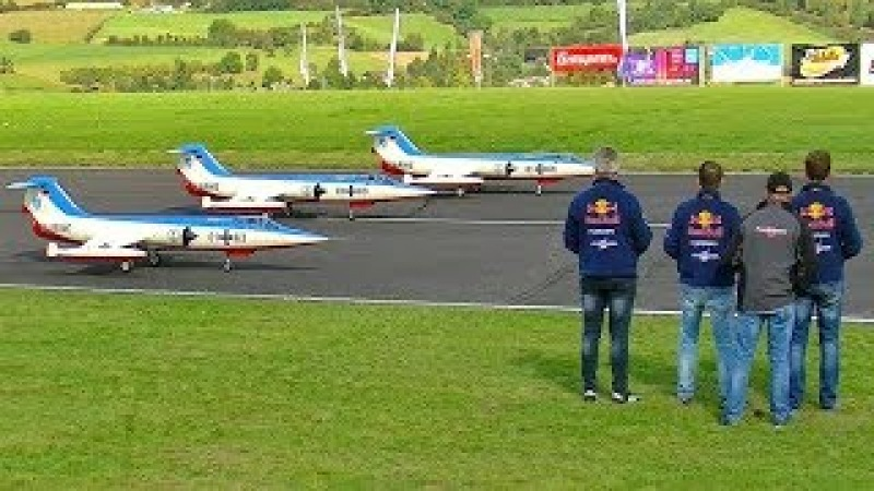 3X HUGE RC F-104 STARFIGHTERS AIRSHOW FULL LENGTH FLIGHT TO MUSIC FLIGHTSHOW