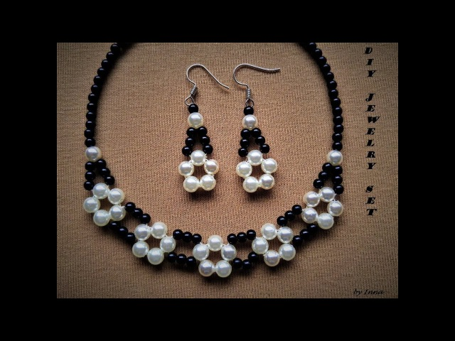 How to make elegant beaded necklace and earrings set
