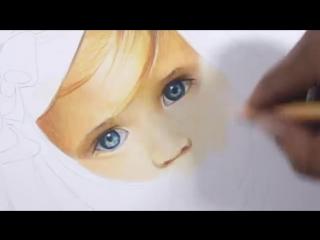 портрет цветными карандашами