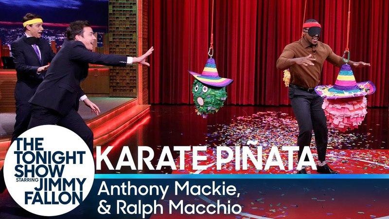 Karate Piñata with Anthony Mackie and Karate Kid Ralph Macchio