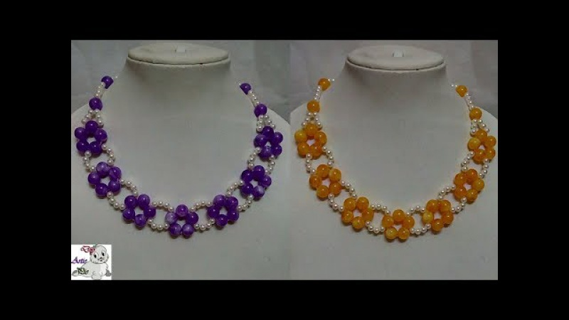 90 How to Make Pearl Beaded Necklace    Diy    Jewellery Making