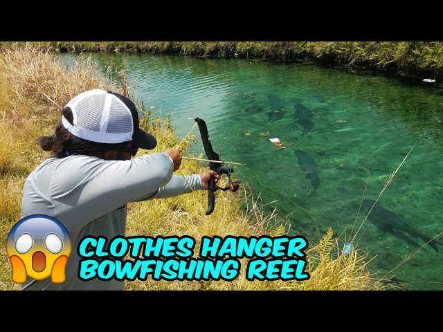 DIY BOWFISHING SETUP from Clothes Hangers