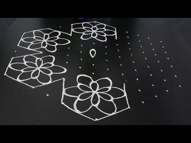 Unique Latest Flowers muggulu design with dots lines | Telugu muggulu latest | telangana muggulu