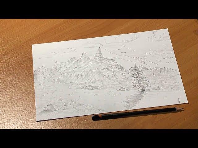 Урок рисования | Графика | Горный пейзаж
