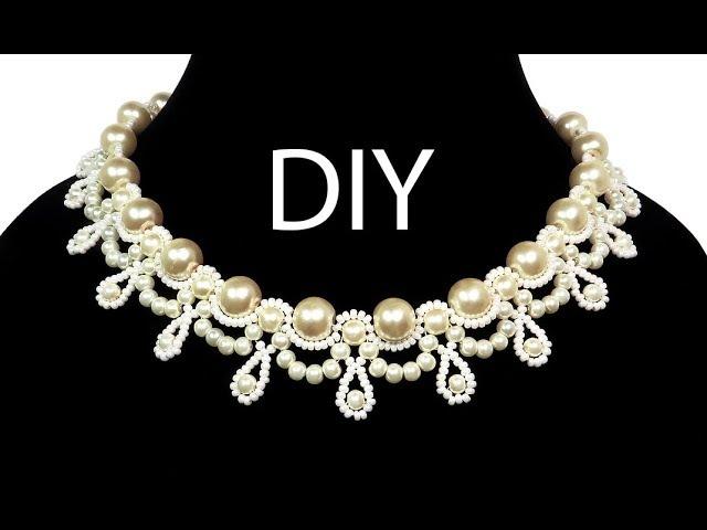 Jewelry ❤ DIY beaded wedding vintage necklace with pearls Свадебное колье из бисера Жемчужина