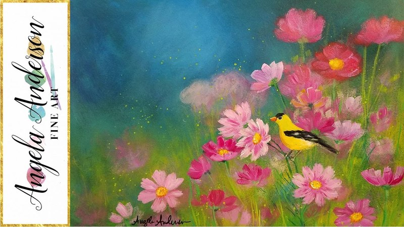 Simple Step by Step Landscape Acrylic Painting FIELD of FLOWERS with Bird LIVE Tutorial