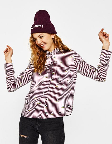 Укороченная рубашка с пуговицами на спине
