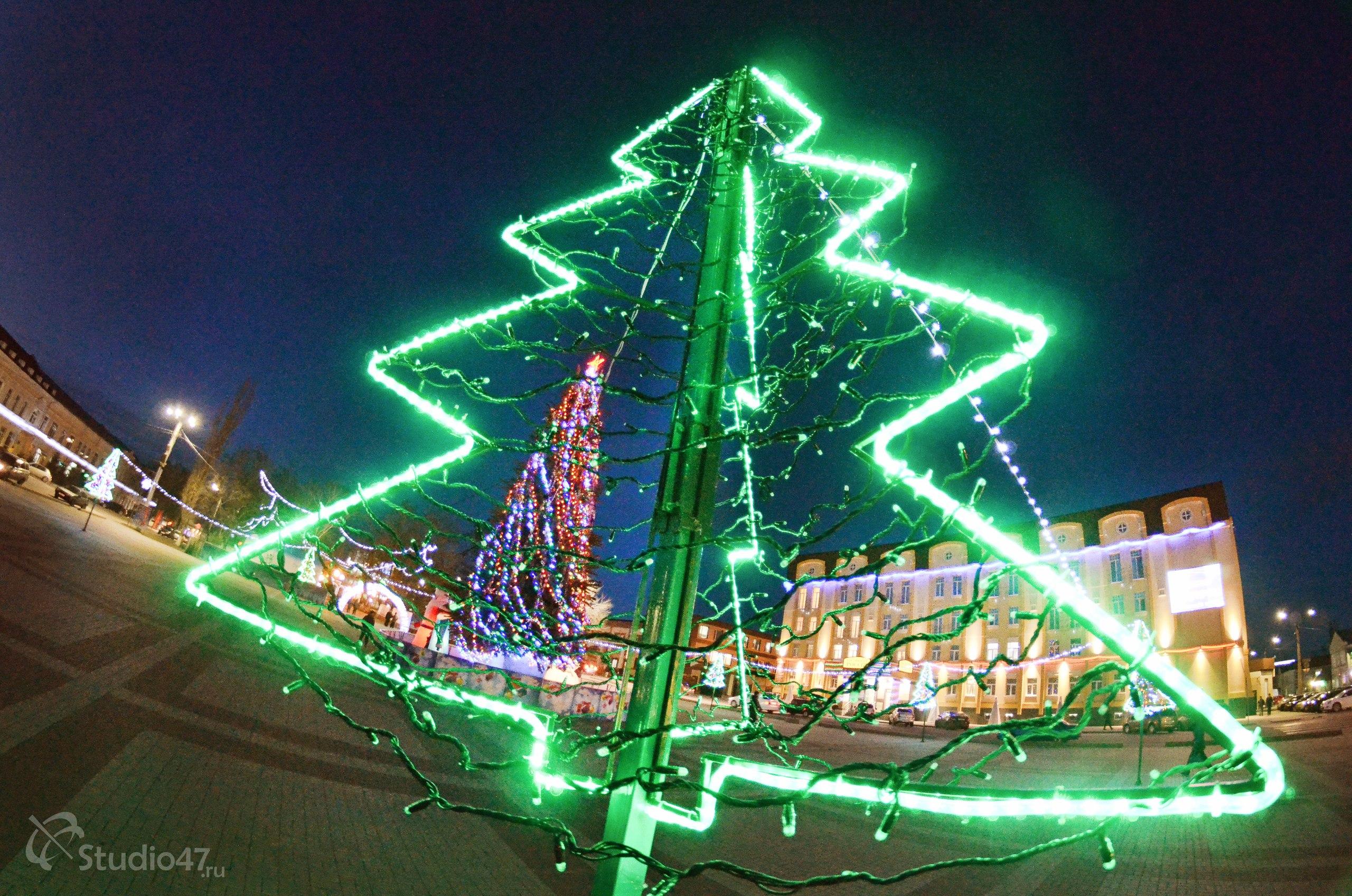 Новогодняя подсветка площади Ленина