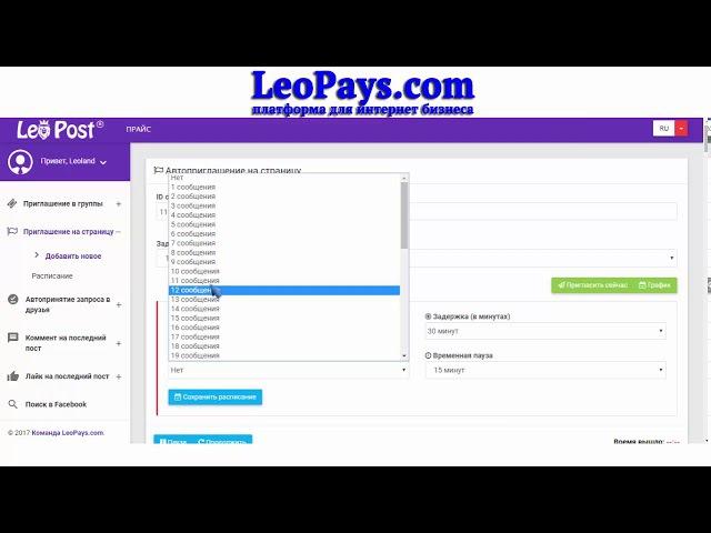 Авто приглашение друзей на бизнес страницу Facebook Инструкци LeoPoST