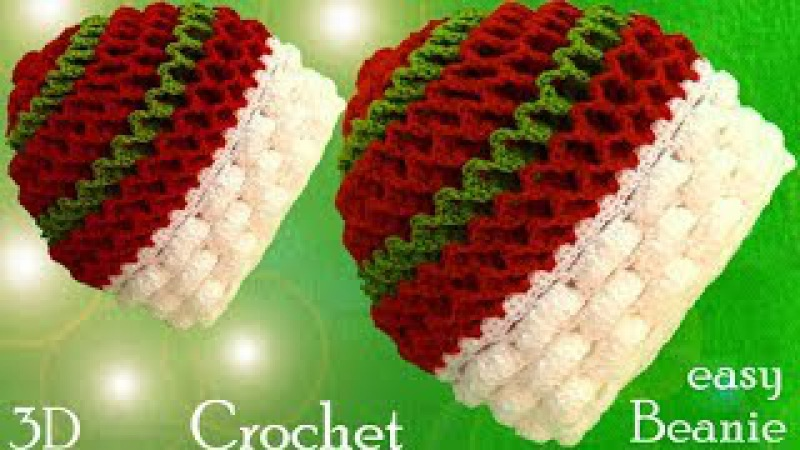 Gorro a Crochet en puntos 3D Marshmallow y panal o nido de abeja tejido tallerm