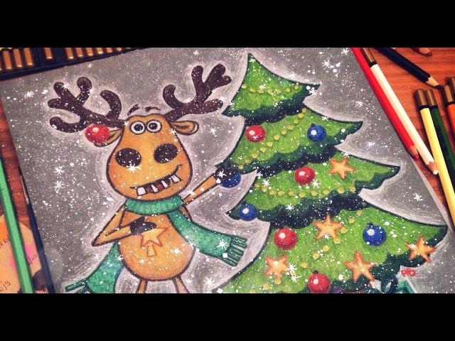 Новогодняя открытка с забавным оленем / Christmas postcard with funny deer