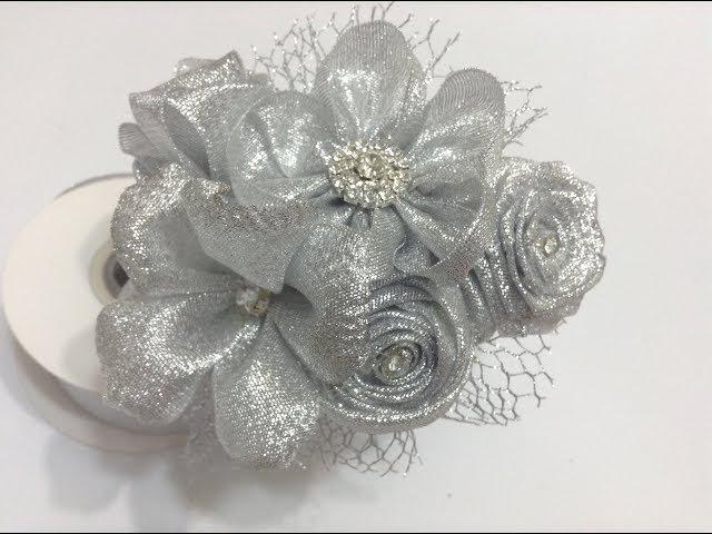Diadema con flores de liston plata VIDEO No 561 creaciones rosa isela