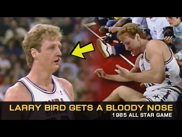 Larry Bird Gets A Bloody Nose In 1985 All-Star Game!