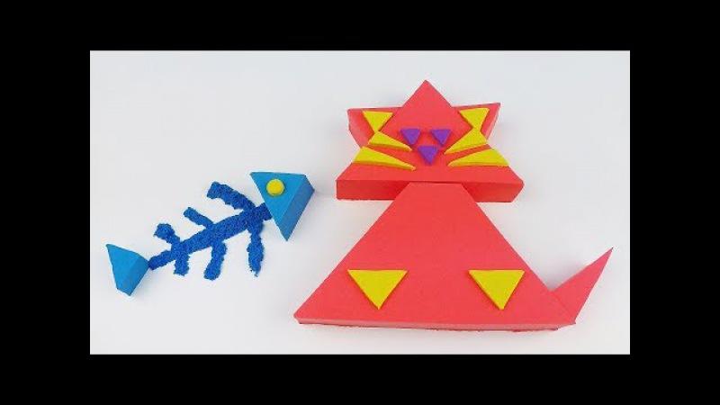 How to make Triangle Kinetic Sand Cat for Kids 아이를 위한 세모난 키네틱 샌드 고양이 만들기