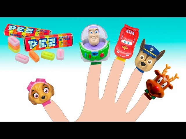 Learn Colors funny man and PEZ Colors Finger Lighting McQueen Toy Story Paw Patrol