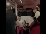 I love this footage with all my soul. Walking into the @ufcpi in Las Vegas with my son Conor Jr. in hand. Look at his neck and back muscles and his total body control. I've watched this too many times. He is a specimen. We are styling too. I am in