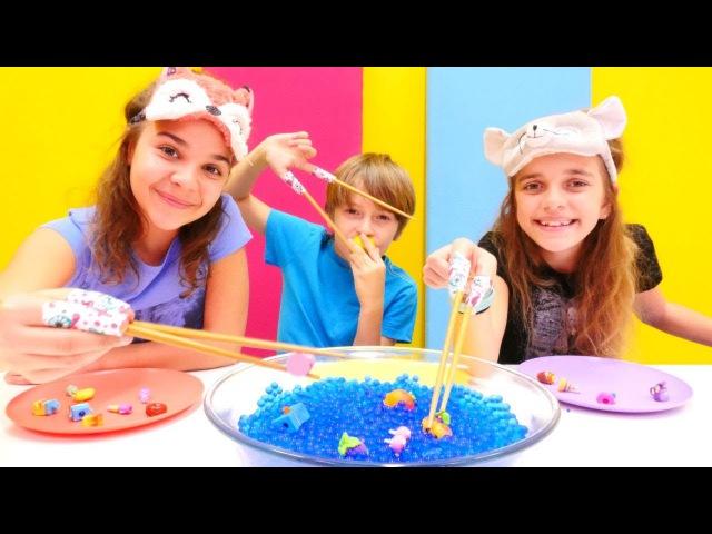 Çocuk challenge videosu Orbeez ile oynadık Shopkins yakaladık